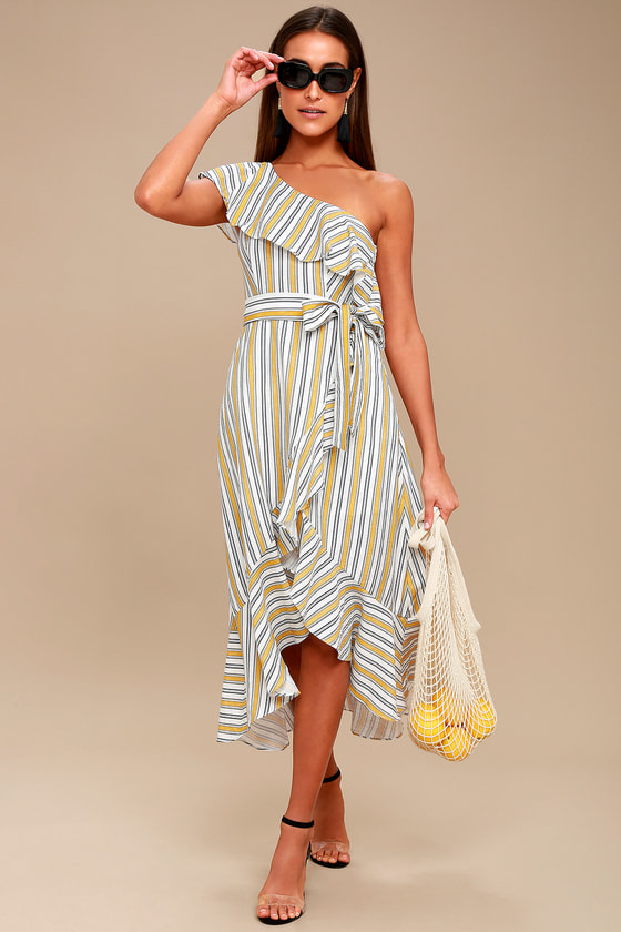 efb6d0f49b59 Trendy Yellow Striped Dress - Midi Dress - High-Low Dress