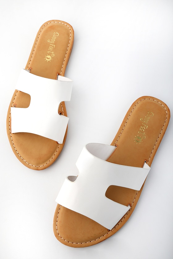 73efed2b0272 Cute Slide Sandals - White Slide Sandals - Slip On Sandals