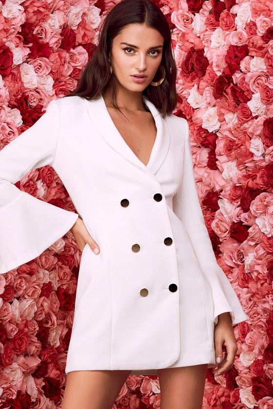Chic White Dress Flounce Sleeve Dress Button Up Dress