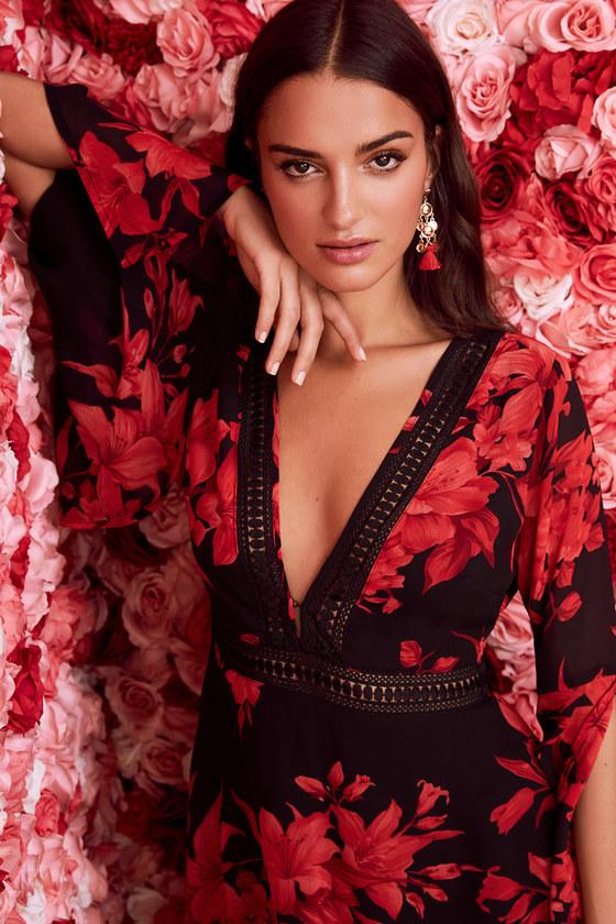 red black floral chic floral dress long sleeve dress bell sleeve dress