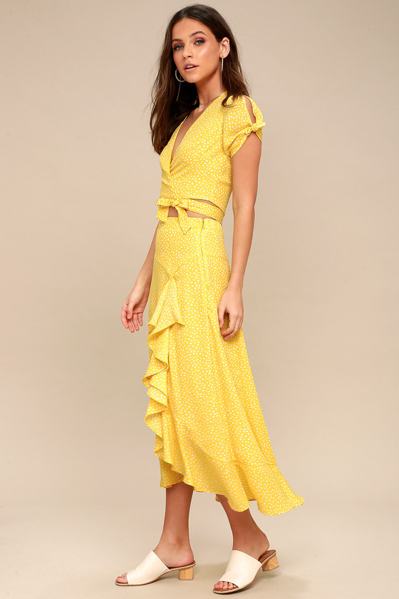 Girl Like You Yellow Polka Dot Two-Piece Maxi Dress 1