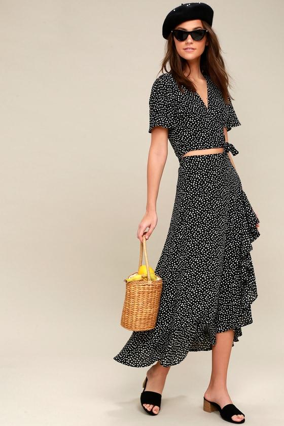 Vintage Polka Dot Dresses – 50s Spotty and Ditsy Prints Girl Like You Yellow Polka Dot Two-Piece Maxi Dress - Lulus $80.00 AT vintagedancer.com