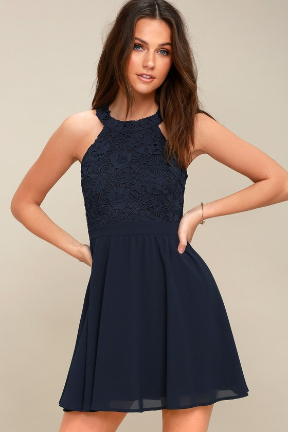 a471f37ac66 Cute Navy Blue Dress - Lace Dress - Halter Skater Dress