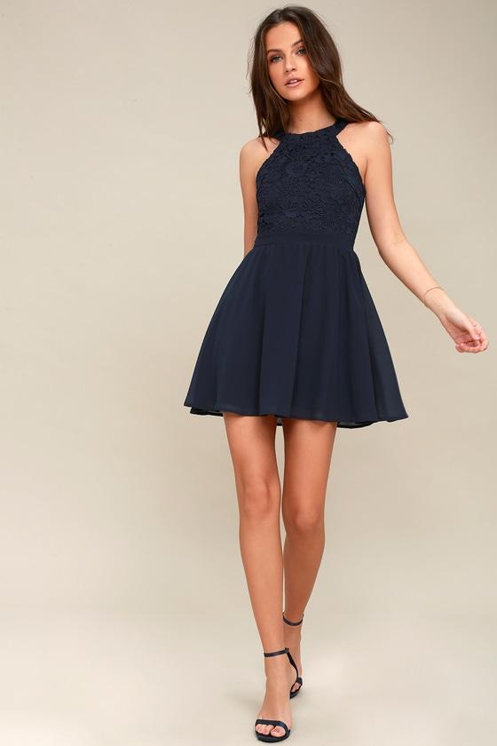 a859ba98e44 Cute Navy Blue Dress - Lace Dress - Halter Skater Dress