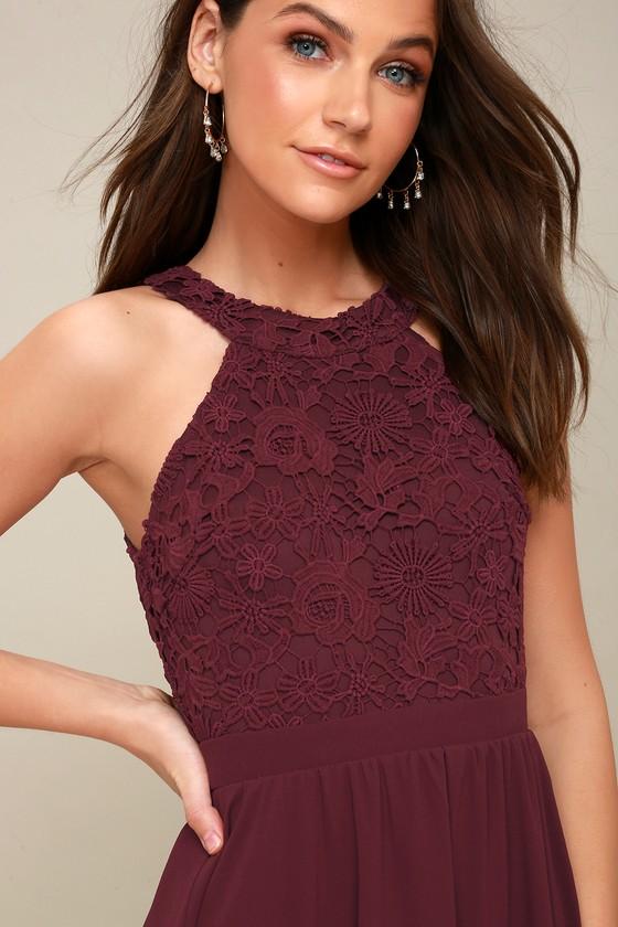 f659737019 Cute Burgundy Dress - Lace Dress - Halter Skater Dress