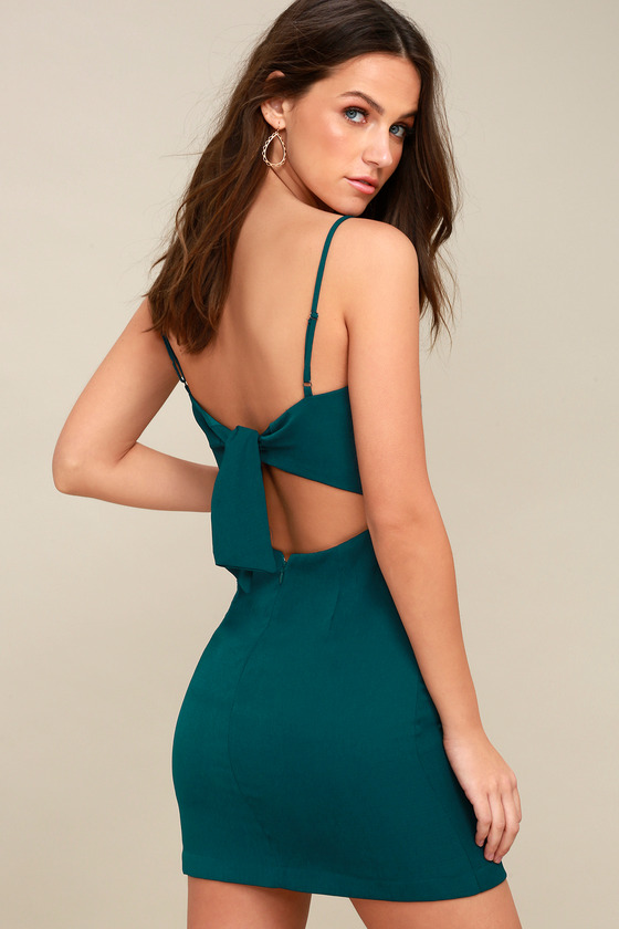 bbb57e887b Cute Teal Green Dress - Tie-Back Dress - Sheath Dress