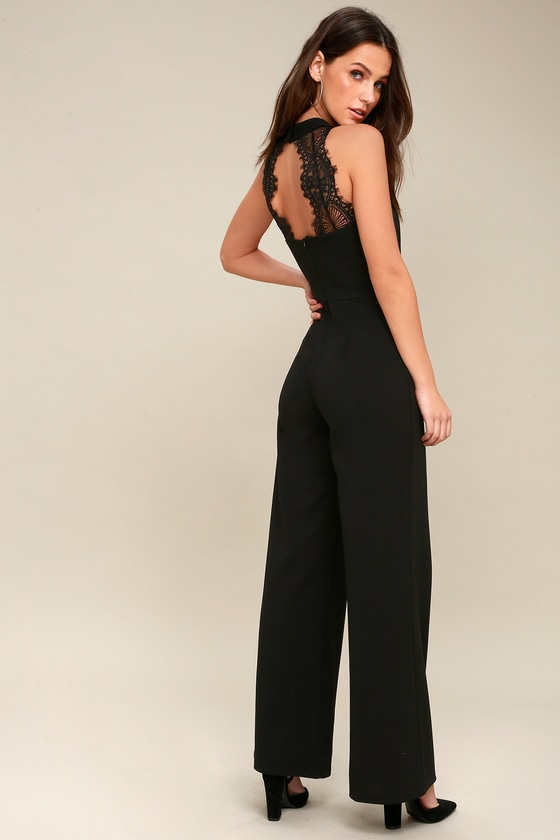 40c773d8304 Chic Black Jumpsuit - Backless Jumpsuit - Lace Jumpsuit