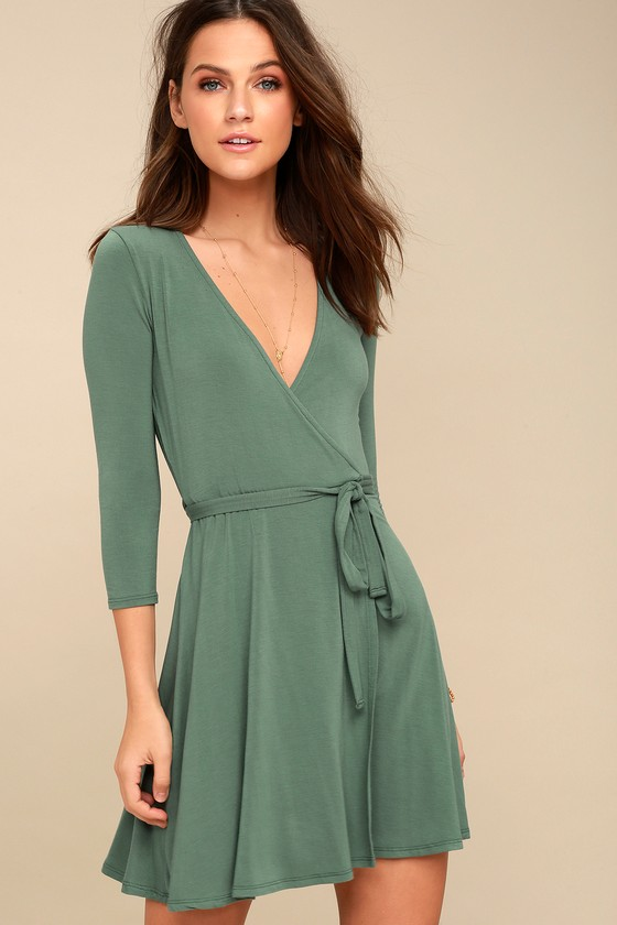 Cool Sage Green Dress - Wrap Dress - Fit and Flare Dress