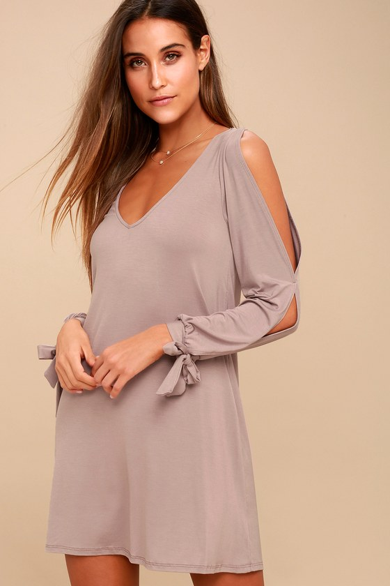 d2a26830217 Cute Taupe Dress - Shift Dress - Cold Shoulder Dress