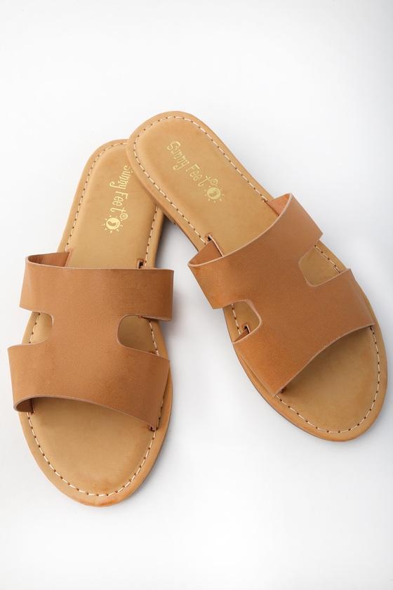 950d9bf0f843 Cute Slide Sandals - Tan Slide Sandals - Slip On Sandals