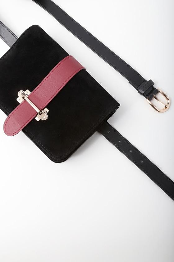 00fa1c21a Chic Black Belt Bag - Belt Purse - Vegan Suede Belt Bag