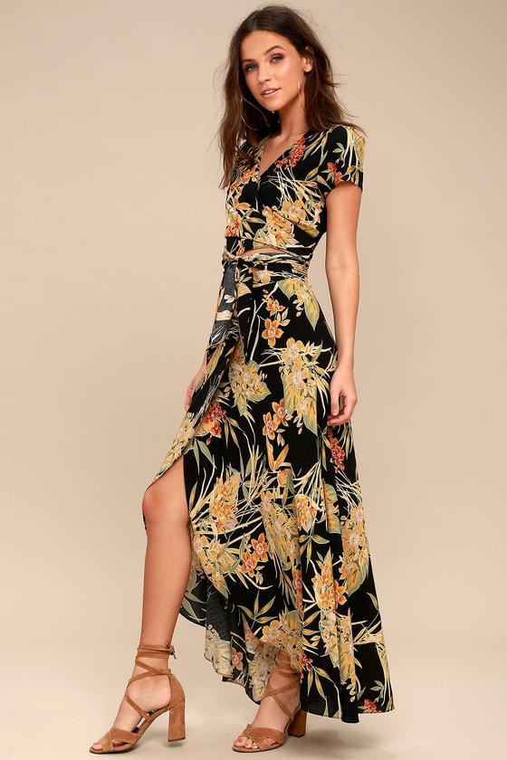 f9178d12c9a Tropical Black Floral Print Skirt - Wrap Skirt - Maxi Skirt