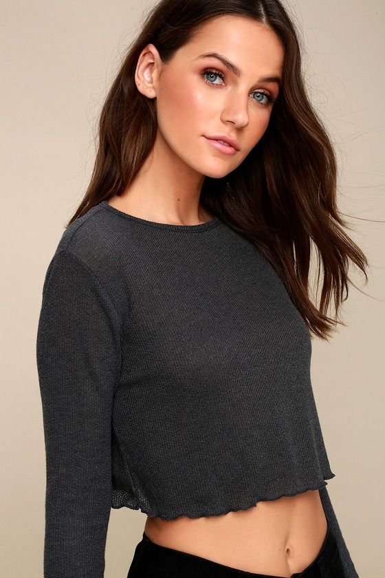 9087323733ffa0 Cute Charcoal Grey Top - Long Sleeve Top - Cropped Top