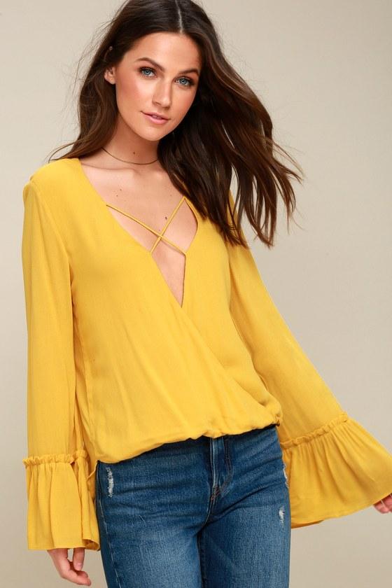 50078e558387c Mustard Yellow Top - Long Sleeve Top - Surplice Top