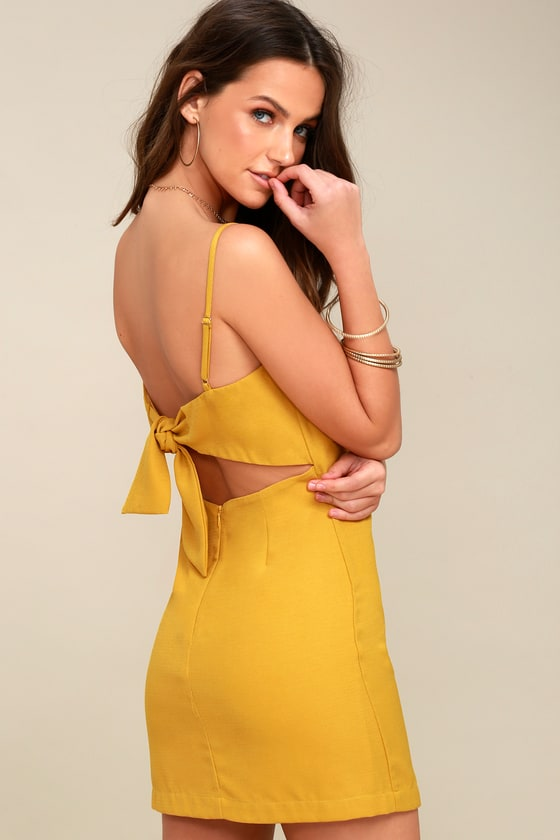 1c12b87e6af Cute Mustard Yellow Dress - Tie-Back Dress - Sheath Dress