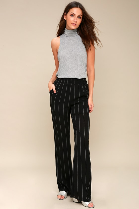 02f0f31aacfb Chic Black and White Striped Pants - Striped Wide-Leg Pants