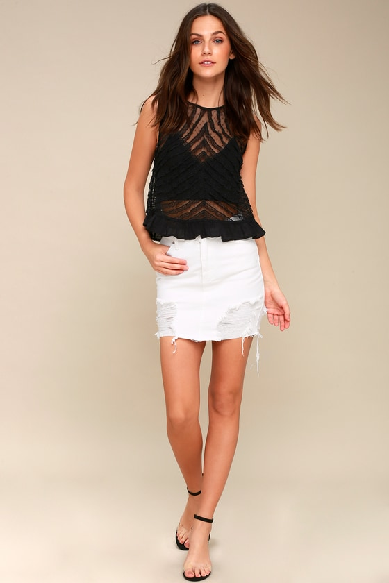 924fc065f81 Free People She s a Doll - Black Lace Top - Sheer Top