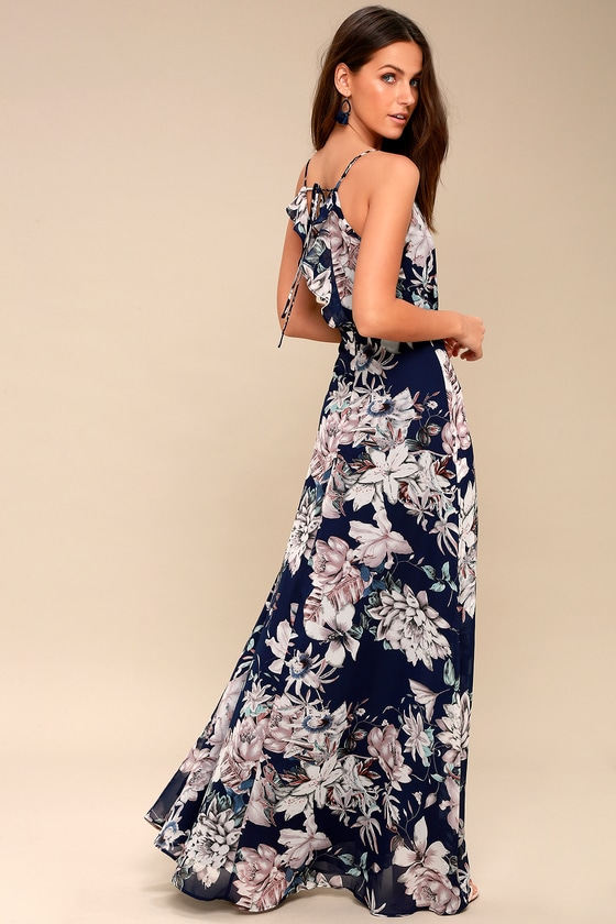9dcb14f6e8a Lovely Navy Blue Dress - Floral Print Maxi Dress