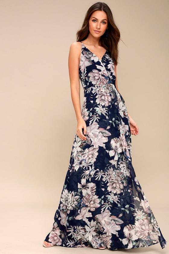 011e21e7e86 Something Just Like This Navy Blue Floral Print Maxi Dress