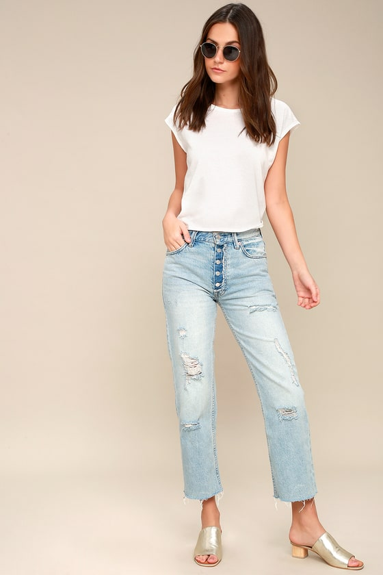Authentic Sale Online Countdown Package Sale Online Rolling On The River Distressed Straight Cropped Jeans - Lt denim Free People Buy Cheap Low Shipping Fee Sexy Sport Amazon Online eVNctz5