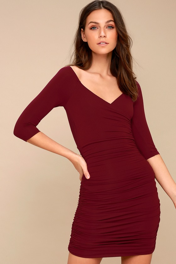 2866a1e3 Sexy Burgundy Dress - Bodycon Dress - Little Burgundy Dress