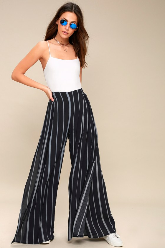 Vintage High Waisted Trousers, Sailor Pants, Jeans Venture Casual Washed Black Striped Wide-Leg Pants - Lulus $49.00 AT vintagedancer.com