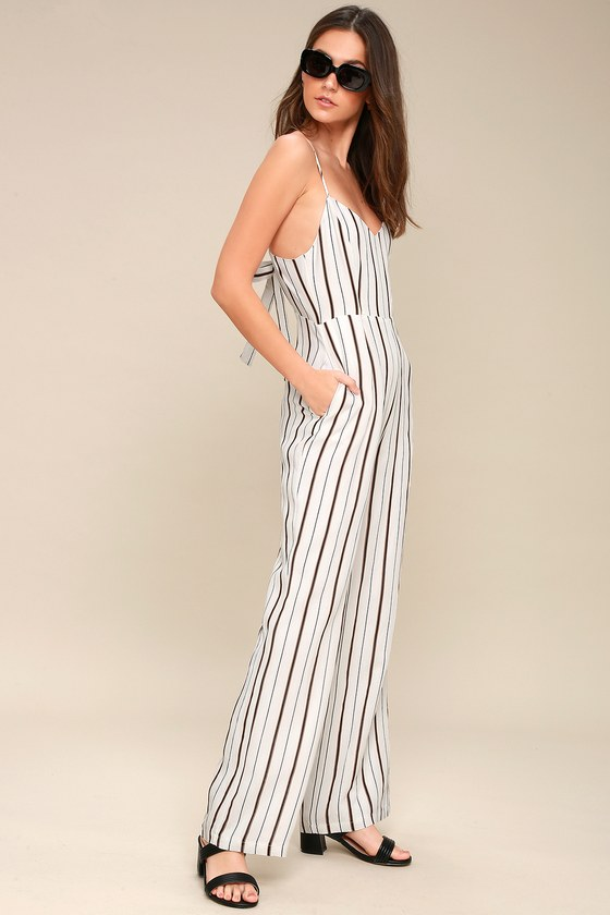 14464a159a9 Chic Striped Jumpsuit - Wide-Leg Jumpsuit - White Jumpsuit