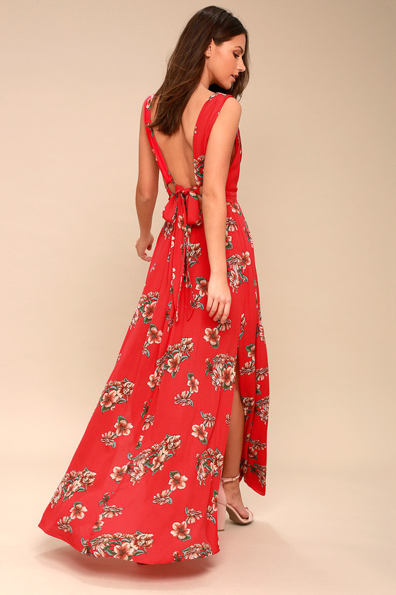 Lovely Red Maxi Dress Floral Maxi Dress Tie Back Dress