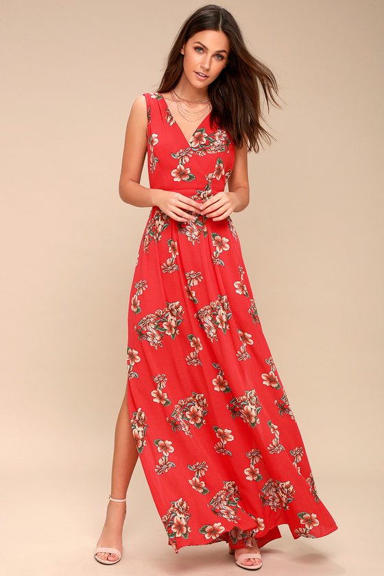 39635bc1d2 Lovely Red Maxi Dress - Floral Maxi Dress - Tie-Back Dress