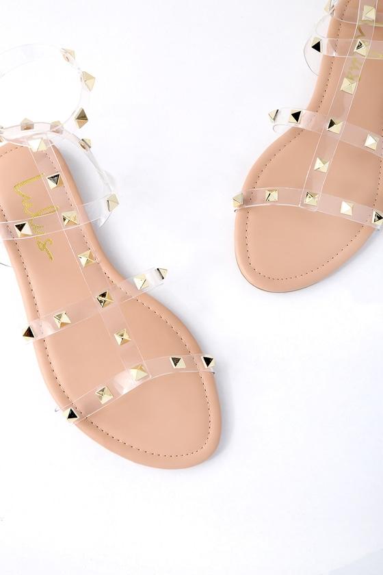 eee12145e98c Trendy Nude Lucite Sandals - Studded Sandals - Vegan Sandals