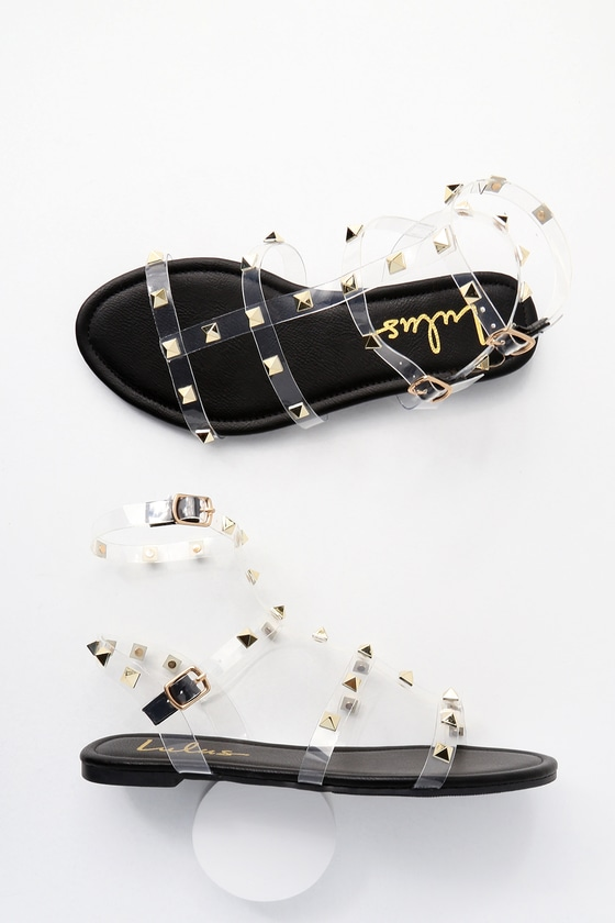 ccd26f42fef6 Trendy Black Sandals - Studded Sandals - Vegan Sandals