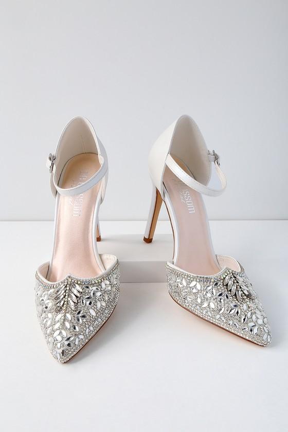 f2b009cce6e2e Stunning Rhinestone Heels - White Heels - Vegan Heels
