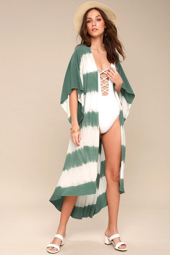 e616f64811 Cute Tie-Dye Kimono - Teal Green Swim Cover-Up - Kimono