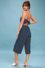 8ada6d4f2be7 Saltwater and Sun Navy Blue Striped Strapless Midi Jumpsuit