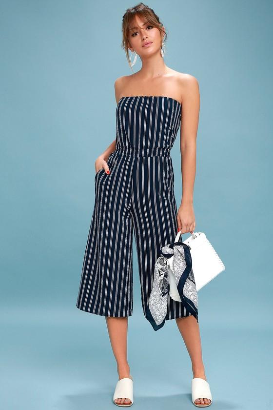 8e3dbe5616b2 Trendy Jumpsuit - Navy Striped Jumpsuit - Strapless Jumpsuit