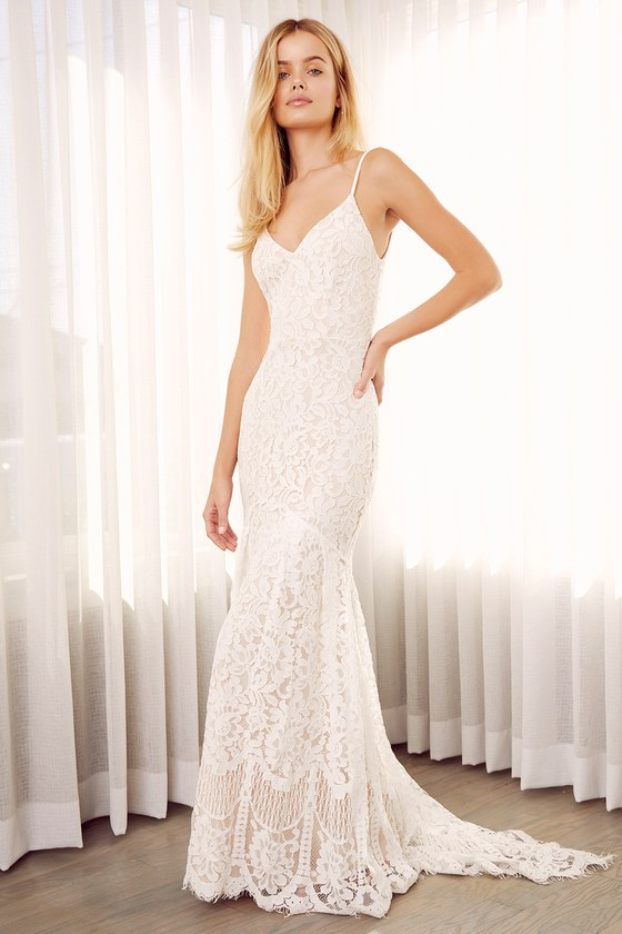 Romantic lace dress bridal dress lace maxi dress for Lace maxi wedding dress