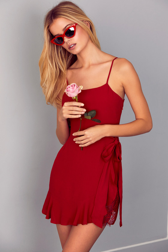 3c07bc0234 Trendy Red Wrap Dress - Red Lace Wrap Dress