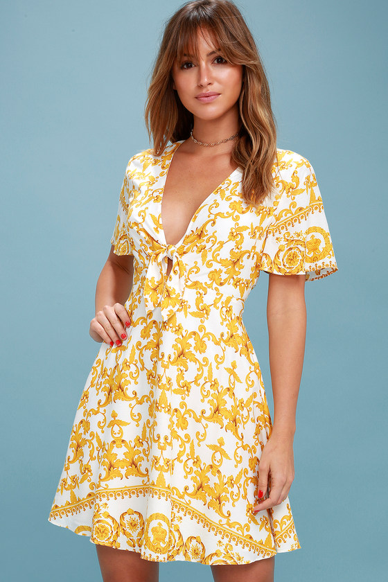 3cdf9c859f1d2 Cute Yellow Floral Print Dress - Tie Front Skater Dress
