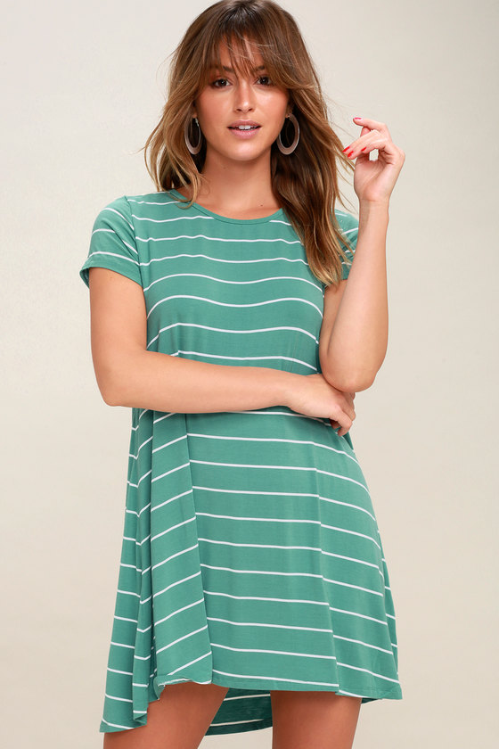 Pencil Teal Green and White Striped Shirt Dress