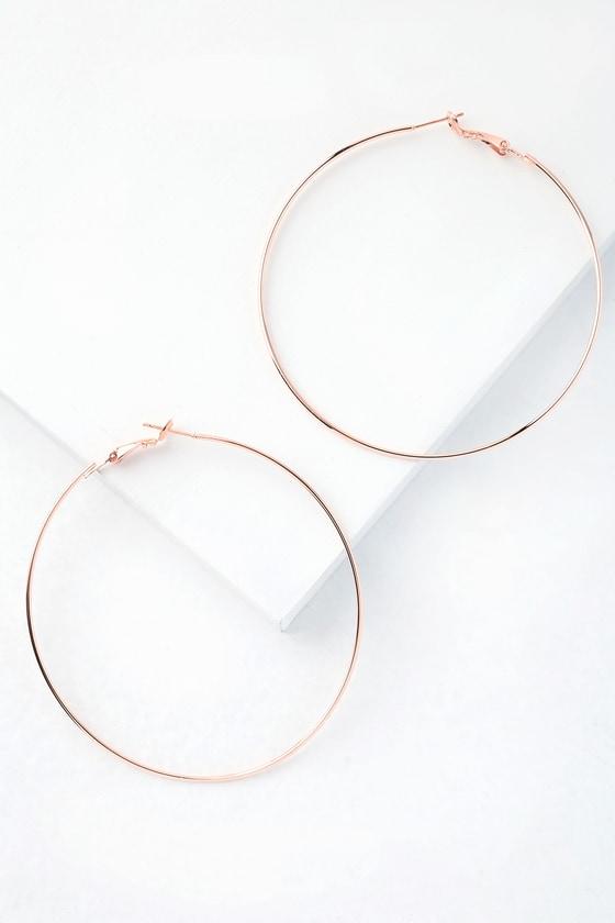 8bd328470b Cute Rose Gold Earrings - Rose Gold Hoop Earrings