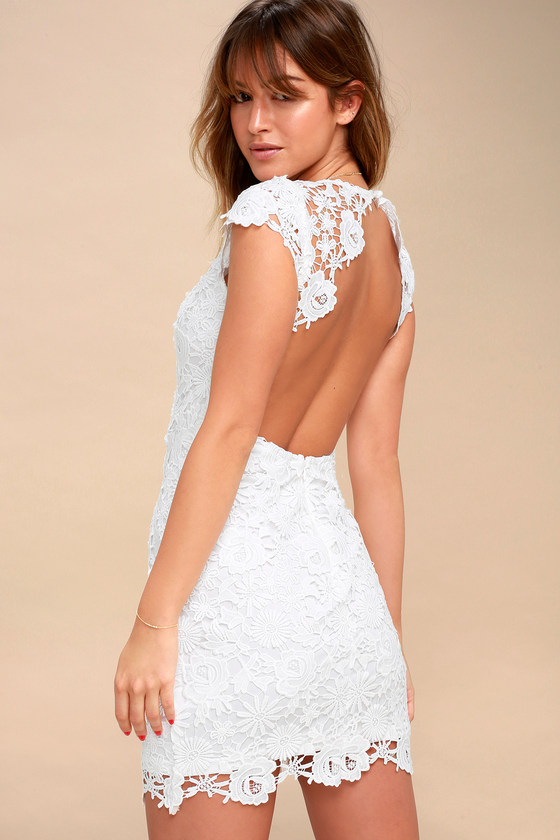 White backless dress lace