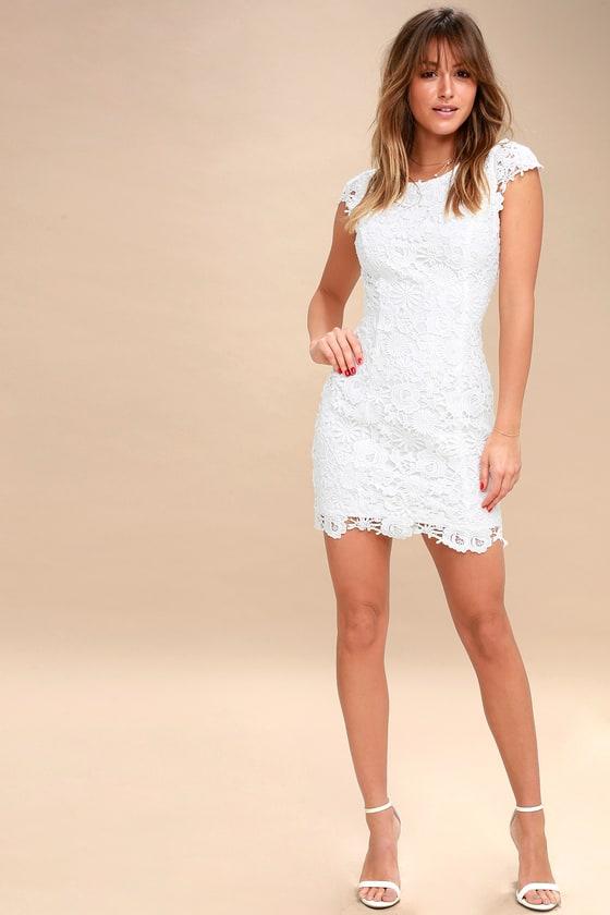 Chic White Lace Dress - Backless Lace Dress -Open Back Dress addec442ac2