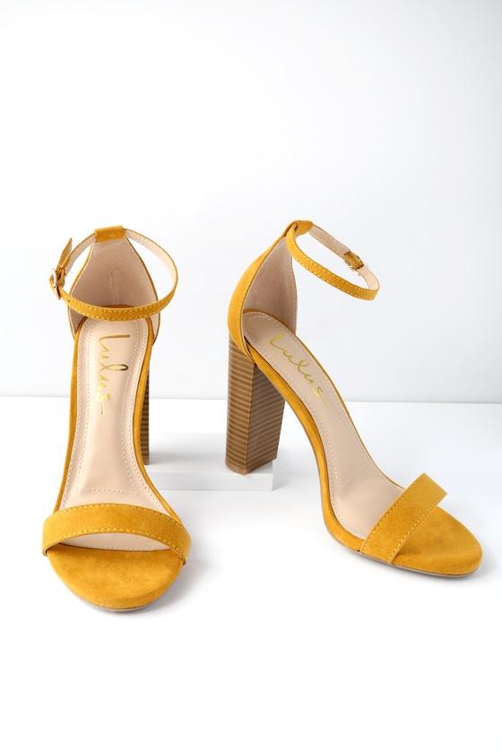 75eb940abe0 Sexy Yellow Heels - Ankle Strap Heels - Single Sole Heels