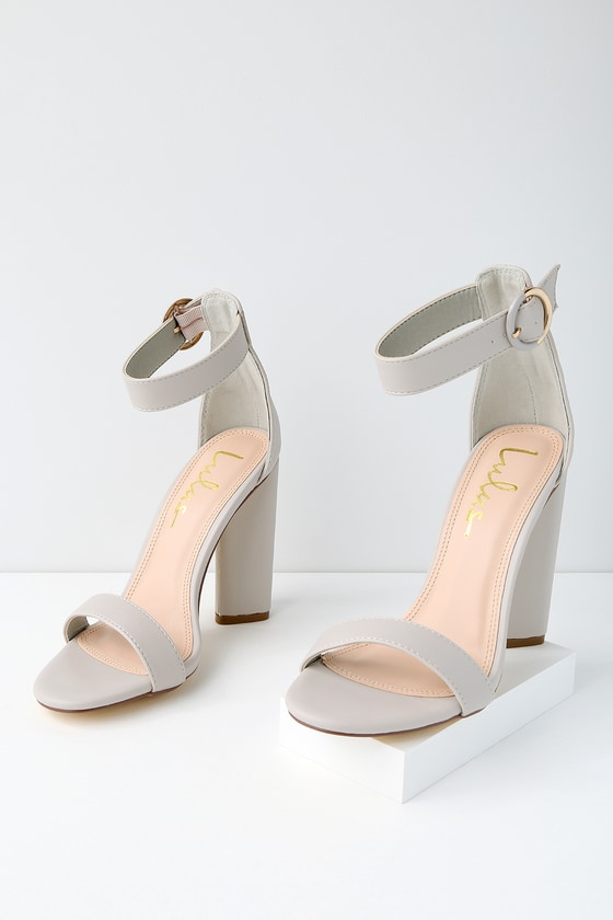 89b452757fa Chic Grey Heels - Grey Ankle Strap Heels - Single Sole Heels -  35.00