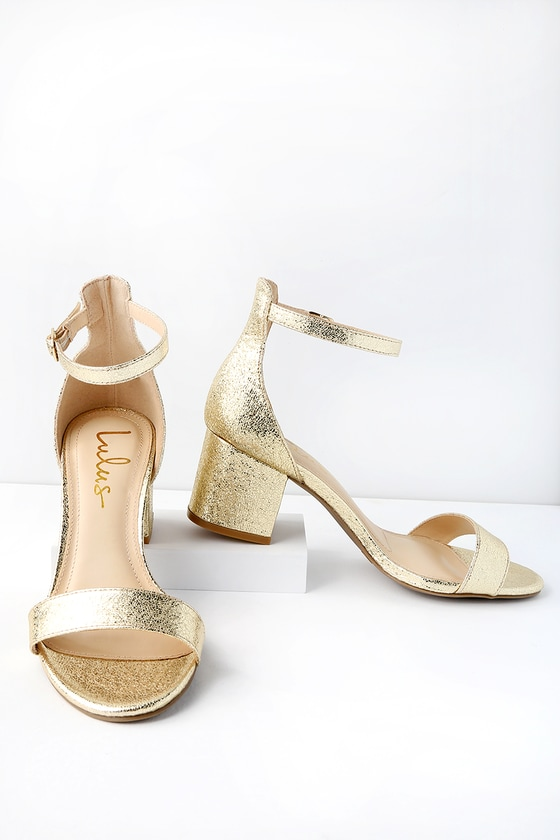 d35e2effc95 Chic Gold Sandals - Single Sole Heels - Block Heel Sandals