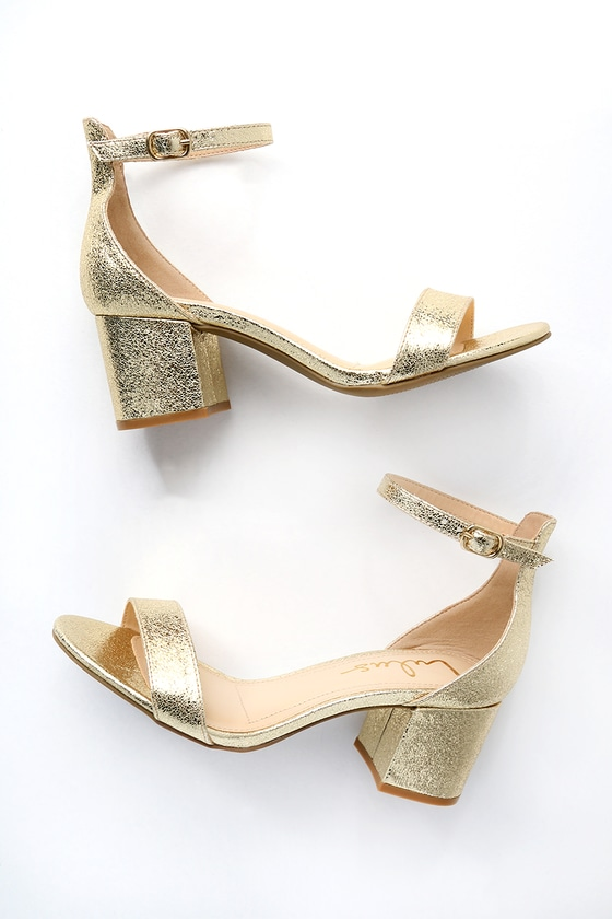 2fc8331bd5a Chic Gold Sandals - Single Sole Heels - Block Heel Sandals