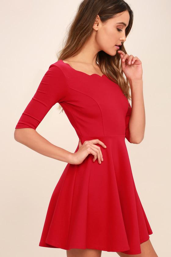 d78c8013f3a Cute Red Dress - Scalloped Dress - Skater Dress -  46.00