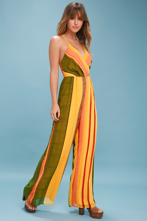 2812ff632cb Cute Yellow Jumpsuit - Wide-leg Jumpsuit - Striped Jumpsuit