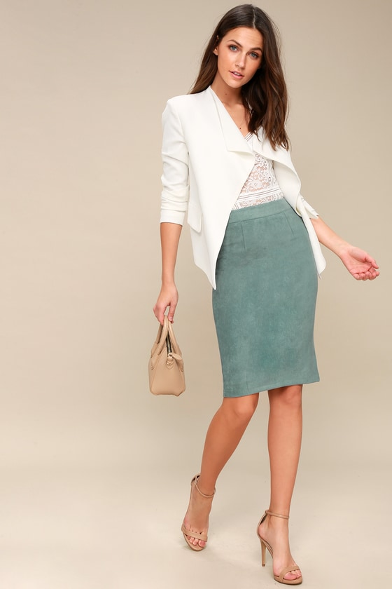 c9a94c129 Teal Blue Vegan Suede Skirt - Pencil Skirt - Midi Skirt
