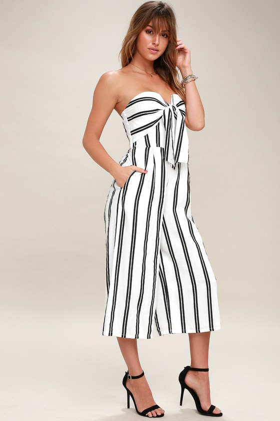 Margo Black and White Striped Strapless Midi Jumpsuit
